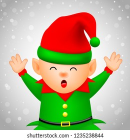 Cute cartoon happiness little elf. Merry Christmas and Happy New Year. Illustration on winter background.