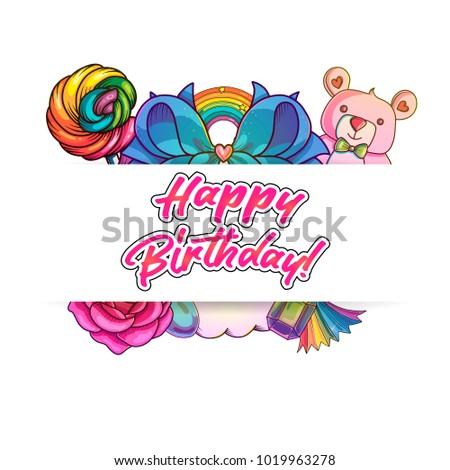 cute cartoon happy birthday banner vector stock vector royalty free
