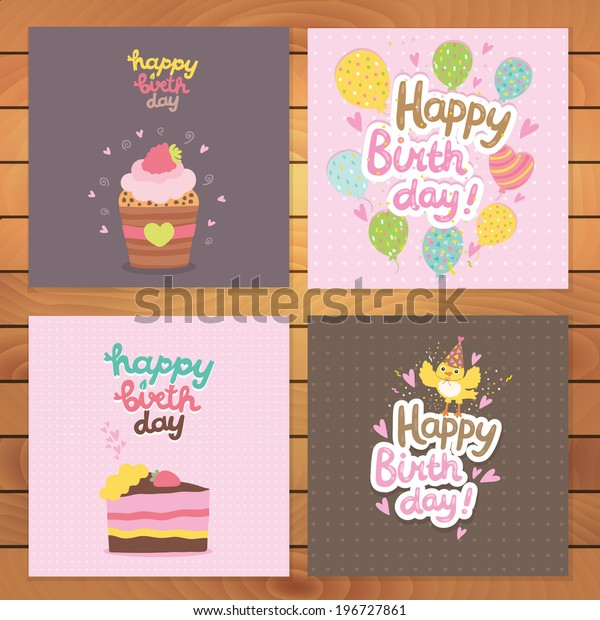 Cute Cartoon Happy Birthday Postcard Template Stock Vector