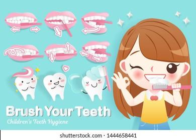 cute cartoon happy girl brush her teeth with dental care