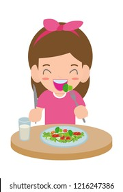 Kids Eating Healthy Foods Cartoon Images Stock Photos Vectors Shutterstock