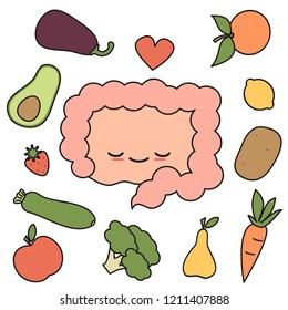 cute cartoon happy and healthy intestine with fruits and vegetables concept vector illustration