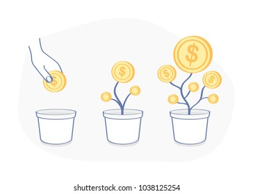 Cute cartoon happy money tree, money growth, investment. Hand putting gold coin as a seed in flower pot, gold dollar currency are growing from the flower pot. Business investment icon concept.