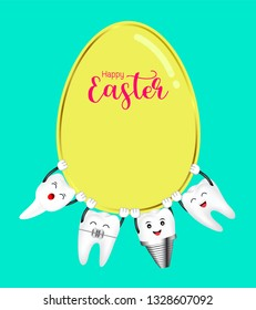 Cute cartoon happy tooth take Easter egg. Happy Easter day concept. Illustration isolated on green background.