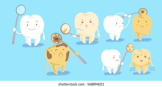 cute cartoon healthy tooth with decay problem