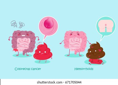 cute cartoon healthy and unhealthy intestine with shit on blue background