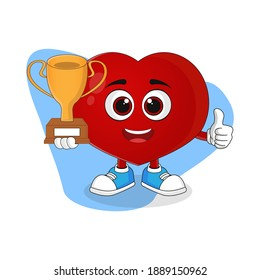 Cute Cartoon Heart Holding Trophy, Good Design For Love Character Theme