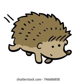 cute cartoon hedgehog running