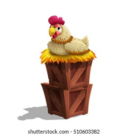 Cute cartoon hen in the straw nest on the wooden boxes isolated on white background. Vector illustration.