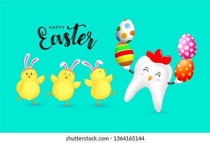 Cute cartoon hen tooth character design with Easter eggs and  little chicks. Happy Easter holiday concept. Vector illustration isolated on green background.