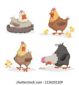 Cute cartoon hens set. Clocking hen, mother with chickens, looking on worm. Farm animals vector illustrations isolated on white background.