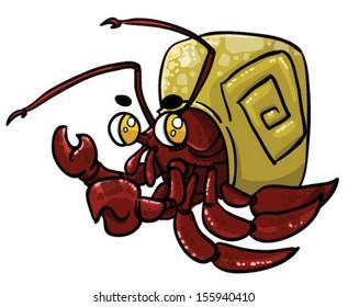 Cute cartoon Hermit Crab  - Vector clip art illustration on white background
