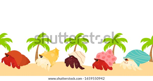 Cute Cartoon Hermit Crabs On Tropical Stock Vector Royalty Free 1659550942 They're all completely free our christmas tree coloring sheets are a brilliant free resource for teachers and parents to use in class or at home, and will be sure to keep the little. shutterstock