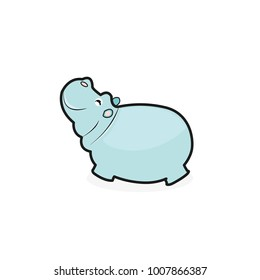Cute Cartoon Hippo on a white background
