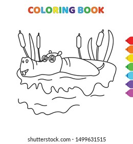cute cartoon hippopotamus on swamp coloring book for kids. black and white vector illustration for coloring book. hippopotamus on swamp concept hand drawn illustration