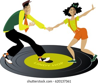 Cute cartoon hipster couple dancing lindy hop or swing on a vinyl record, EPS 8 vector illustration