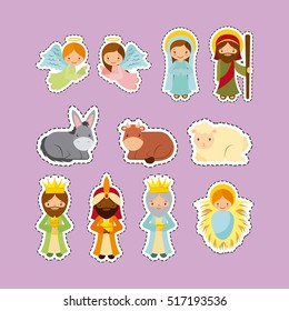 cute cartoon holy family with manger characters over purple background. vector illustration