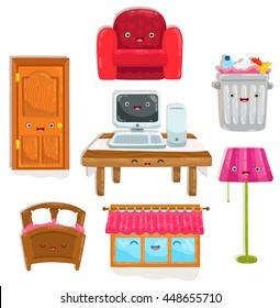 cute cartoon home objects. Chair, table, desk, trash bin, lamp, computer, bed, window and door.