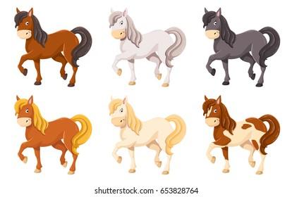 Cute cartoon horse illustration set, 6 different colors