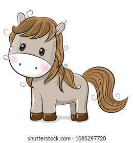 Cute Cartoon Horse isolated on a White background