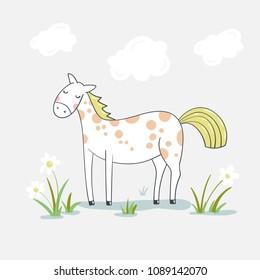 Cute cartoon horse on flower meadow.