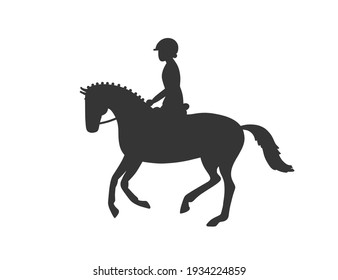 Cute cartoon horse and rider. Hand drawn doodle vector silhouette