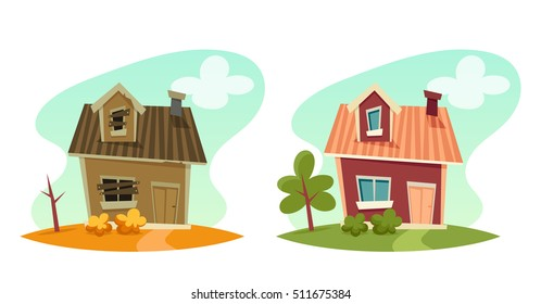 Cute Cartoon House: Broken and Repaired. Vector Illustration