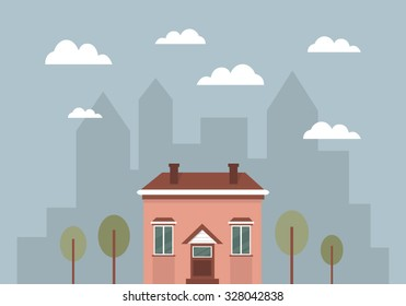 Cute cartoon house in the city. Pink building on bright background. Isolated elements. Day in the town. Moving to a new place.