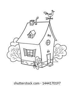 Cute cartoon house outline. Vector colouring page