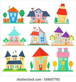 Cute cartoon houses collection. Funny colorful kid vector house set
