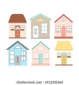 Cute cartoon houses. Vector illustration