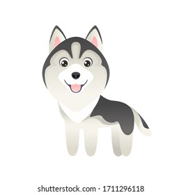 Cute cartoon husky dog Isolated on  white background. Vector illustration of funny smiling pet. Children's style. Puppy simple icon.