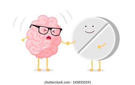 Cute cartoon ill human brain with headache and medicine pill. Sick central nervous system organ. Flat vector cartoon pain character illustration