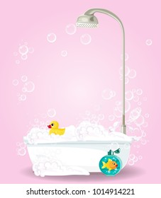 Cute Cartoon Illustration Of Bathtub Full Foam Soap Bubbles Bottle Shampoo