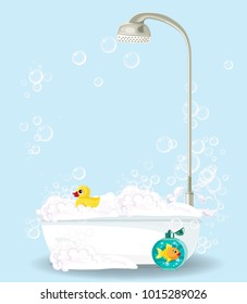 Cute cartoon illustration of bathtub full of foam, soap bubbles, bottle of shampoo, rubber duck isolated on blue  background. Comfortable  bathroom equipment  for relaxing. Vector bathroom clip art.