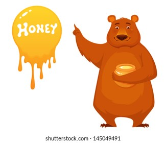 cute cartoon illustration of a bear holding honey jar and pointing or presenting something