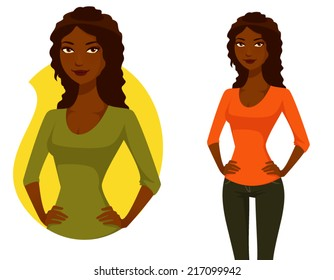 cute cartoon illustration of a beautiful African American woman with curly hair