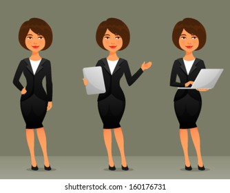 cute cartoon illustration of a beautiful business woman in various poses