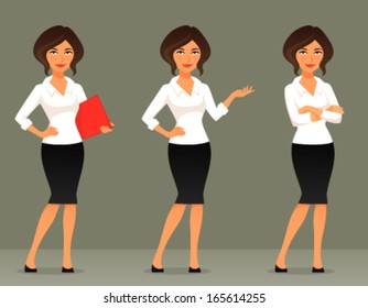 cute cartoon illustration of a beautiful business woman or secretary, in various poses