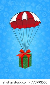 Cute cartoon illustration of christmas or new year gift wrapped with red ribbon flying on red and white parachute on blue snowy background. Vector clip art, icon, emblem.