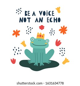 Cute cartoon illustration of a frog. Character frog. Cute vector illustration frog doodle style. frog with a motivational inscription. Simple flat vector cartoon illustration.