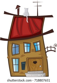 Cute cartoon illustration of funny little house with cat on the roof  isolated on white background. Clip art.