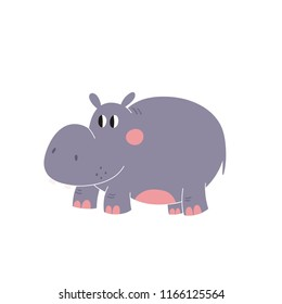 Cute cartoon illustration of a hippopotamus. Character snail. Cute vector illustration of a hippo.