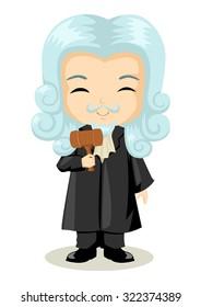 Cute cartoon illustration of a judge