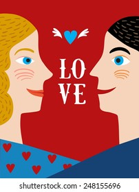 Cute cartoon illustration of man and woman side view in love. Poster perfect to place your text