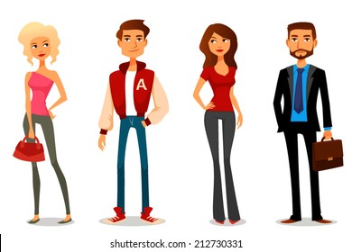 cute cartoon illustration of people in various outfits