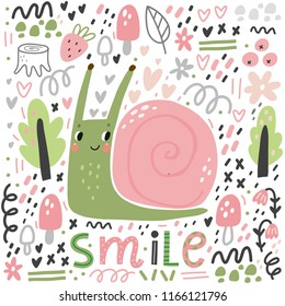 Cute cartoon illustration of a snail. Character snail. Cute vector illustration snail doodle style.