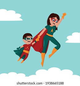 Cute cartoon illustration of super mother and sonn