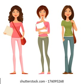 cute cartoon  illustration of teen or tween student girls