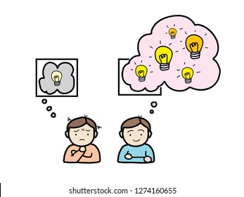 cute cartoon illustration of two men thinking in different mood. One man's thought is inside the box. Another man's' thought is going outside the box, he's got more ideas and they looked brighter.